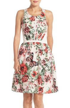 Adrianna Papell Floral Print Crisscross Back Fit & Flare Dress
