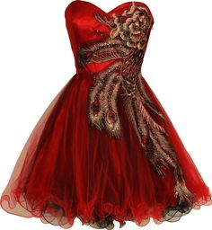 Red peacock dress - I actually kind of wish I was still in high school so I could wear this to prom.