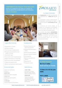 Este Campamento se desarrolla en un campus de Dublín (Irlanda), cuenta con unas amplias instalaciones y está situado en una zona residencial.  El Campamento de Verano en Dublín combina el aprendizaje de inglés con un amplio y variado programa de actividades y excursiones en los fines de semana.  La opción de todo incluido: Vuelo, Alojamiento, Curso, Actividades, Seguro y Monitor acompañante desde España te garantiza la máxima seguridad. Monitor, Learning, Dublin Ireland, Sleepaway Camp, English Course, Camps