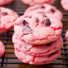 Strawberry Chocolate Chip Cookies. - Sallys Baking Addiction. I thought these looked like my cake mix/cool whip cookie with chips added, but they are a bit different, a few added ingredients, but still use a cake mix. Look yummy!