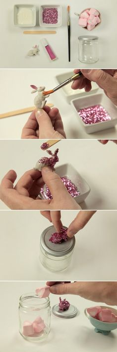 diy easter gift ideas kids adults bunny glass jar glue top marshmallows