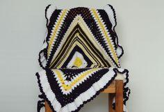 🌼 🌼 Cobertor da Avó Quadrado do Bebê Plissado Afegão por itens decorativos Malha Criações - /  🌼 🌼 Granny Square Baby Blanket Afghan Ruffle by Knit Knacks Creations -