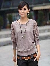 Women's Round Collar Lace Dress Sweater Long ... – USD $ 16.19