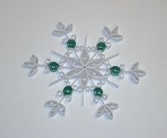 Quilled Snowflake Ornament Shimmering White by CreationsFromAlice, $4.00