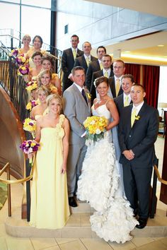 I love these colors and the arrangement of this bridal party
