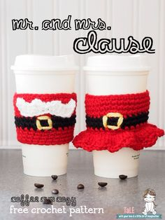 crochet, Mr. and Mrs. Santa Claus travel coffee cup sleeves/ cozy.