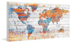 """""""Warm World"""" Print on White Wood, 40""""x20"""" contemporary-prints-and-posters"""