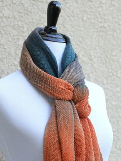 Hand woven long scarf, #pashmina with gradually changing colors from teal to orange and beige.  Amazing color shades and color variety. Unfortunately, I can't show it perfec... #kgthreads #rusteam #homespunsociety