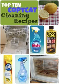 Top 10 Copycat Cleaning Recipes! Homemade Windex, Homemade Febreze, Spot Clean your Carpet Solution, Oven Cleaner, Clean a Dirty Dishwasher, Daily Shower Cleaner, Homemade Goo Gone, Furniture Polish, Do It Yourself Teeth Whitener & Homemade Makeup Remover Wipes.