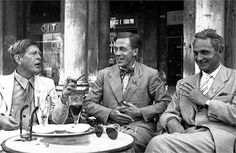 walkwhilereading:  W.H. Auden, Cecil Day Lewis, and Stephen Spender at the PEN conference in Venice, 1949. [photo by Hulton Getty]