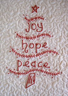joy, hope, peace embroidery