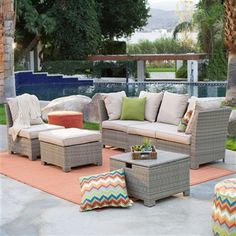 This Natural Outdoor Wicker Patio Furniture Conversation Set has many options for arranging for your family and friends. It also has a cube for storing outdoor items, or use as a table.