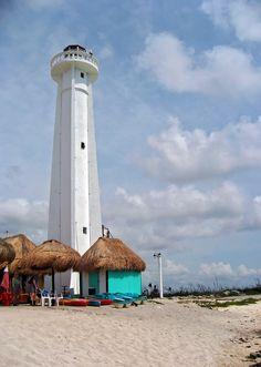 The Mahahual lighthouse at Costa Maya, Mexico.