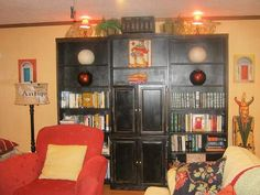 Bookcase painted black