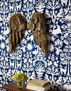 Otomi (Navy) Wallpaper by Hygge and West Navy Wallpaper, Modern Wallpaper, Room Wallpaper, Designer Wallpaper, Wallpaper Ideas, Blue Background Patterns, Navy Blue Background, Hygge And West, Room Photo