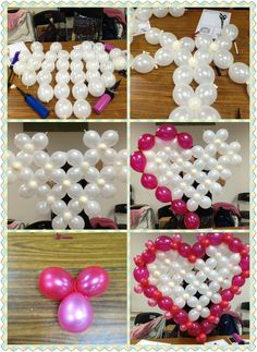 Heart using Link Balloons How To Make Balloon, Love Balloon, Balloon Flowers, Balloon Wall, Balloon Bouquet, Balloon Garland, Birthday Balloon Decorations, Party Decoration, Birthday Balloons