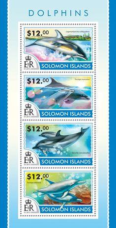 Post stamp Solomon Islands SLM 15208 aDolphins (Lagenorhynchus obliquidens, Tursiops truncatus, Stenella coeruleoalba, Tursiops aduncus)