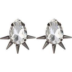 Fallon Gunmetal Spiked Teardrop Earrings