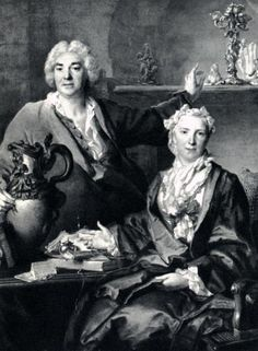 18 th century FRENCH SILVER famous silversmith to the King THOMAS GERMAIN FRANCE Thomas Germain has had his portrait painted by Largillière, in company of his wife, Anne-Denise Gauchelet, in his workroom. The artist, with one hand laid on a large silver ewer, points with the other at a candelabrum adorned with figures of fauns and nymphs.
