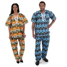 African Print Dashiki & Pants $29.95 Hand tailored African print pant set from The Gambia for both men and women. C-U138 See more here: africaimports.com