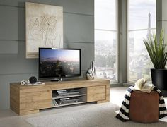 Milano  TV Stand in Rovere Miele oak finish, left and right opening doors with  quality hinges. Storage space behind doors and one middle open shelf with AV access point.
