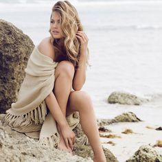 Beach Set Photo Shoot Pose Casual Cashmere Blanket Look Away Off In The Distance Hair Swept To Side Big Waves