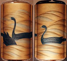 Case (Inrô) with Design of Three Geese Swimming and Diving on Waves Date: 19th century
