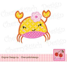 Stacked Crab 01_Flower crab-Baby girl crab-4x4 5x7 6x10-Machine Embroidery Applique Design