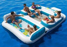Camping at the lake, take this! New Giant Inflatable Floating Island 6 Person Raft Pool Lake Float - Floating Island Raft, Inflatable Floating Island, Floating Lounge, Floating Cities, Floating Water, Rafting, Lake Floats, Pool Floats, Lagoon Pool