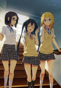 Nao Okuda, Azusa Nakano, and Sumire Saito Manga Anime, Lolis Anime, Manga Art, Kawaii Chibi, Kawaii Anime, Azusa Nakano, Short Hair, Long Hair, Couples Cosplay