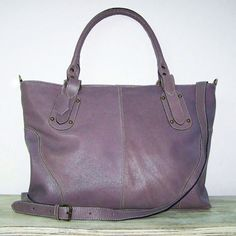 Leather Tote Handbag Purse Nora in purple mauve chicleather, $159.00