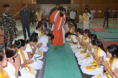 youths taking blessings of #yoga guru swami Ramdev ji at #yuva shivir ,#Patanjali yogpeeth,Haridwar.