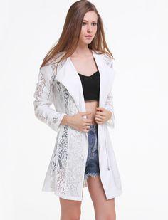 White Long Sleeve Embroidered Sheer Mesh Yoke Outerwear - Sheinside.com