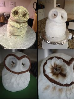 A few months ago my friend Monika asked if I would be able to make an owl Birthday cake for her husband Aaron. I did a bit of research and found a few owl cake ideas which I sent over. Harry Potter Torte, Harry Potter Birthday Cake, Harry Potter Owl, Ladybug Cakes, Bird Cakes, Owl Cupcakes, Cupcake Cakes, Fruit Cakes, Owl Cake Pops