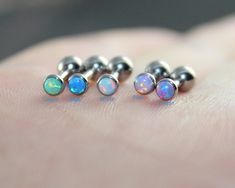 5 colors for choice-Dainty White Opal Earring by woodredrose