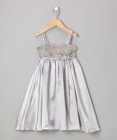 Look at this #zulilyfind! Silver Rosette Satin Babydoll Dress - Toddler & Girls by Kid's Dream #zulilyfinds