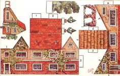 house without porch, extension to one side, topiary work, red roof
