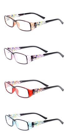 dd713286346 LL Womens 4 Pack Reading Glasses Clear Spring Hinge Stained Glass Design  Review Spring Hinge