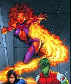 starfire, Nightwing, & Beast Boy