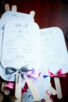wedding day program fans...good idea for outdoor summer wedding/reception