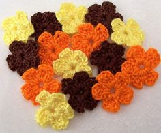 Crocheted Fall Color Flowers by FineThreads on Etsy, $3.75