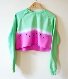 Watermelon Crop Jumper Sweater Tie Dye Ombre 90's Grunge Festival T-Shirt Summer Holiday Hipster Tumblr  Pink  Green Small / Medium (23.00 GBP) by RetroSpectiveApparel