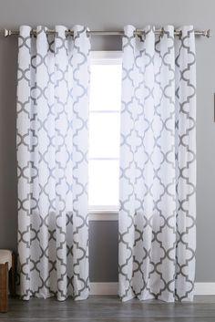 Velvet Reverse Moroccan Printed Grommet Curtains - Set of 2 Panels - Grey