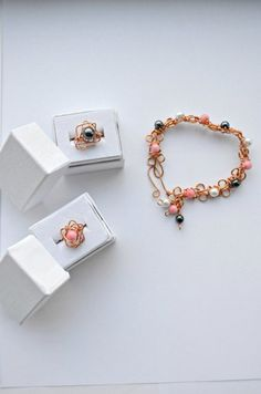 The Lady Collection Inspired by Downton Abbey / Bracelet and 2 Rings / Wire Wrapped / Handcrafted / Copper / All Sizes