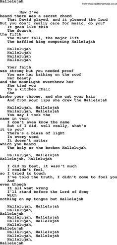 Leonard Cohen song Hallelujah-leonard-cohen.txt lyrics