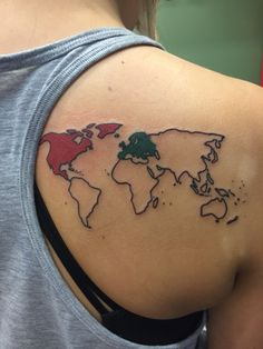 These 61 map tattoos will give you major wanderlust map tattoos my world map tattoo shading in the continents as i go to them gumiabroncs Gallery