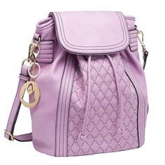 MG Collection Seren Studded Quilted Backpack, Lavender, One Size. Quilted fashion tote made of classic leatherette and featuring gold-tone hardware, including studs on the front panel. Roomy interior comes with fabric lining, 2 slip pockets, and 1 zippered pocket Another zippered pocket on the back exterior provides additional storage space. This versatile daybag can be carried as a shoulder bag or slipped onto your back as a stylish backpack. Official MG Collection® product by MyGift®...
