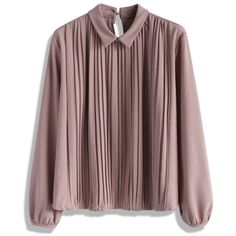 Chicwish Pleat on Dolly Top in Lilac (360 SEK) ❤ liked on Polyvore featuring tops, pink, keyhole top, collar top, lilac top, pleated top and red top