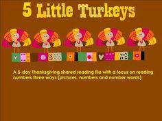 Five Little Turkeys Kindergarten- smartboard free!