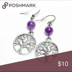 """Amethyst Tree of life earrings Amethyst stone with tree of life charm.  I can customize this product with just about any Stone you like.  About 1.5"""" in length Jewelry Earrings"""